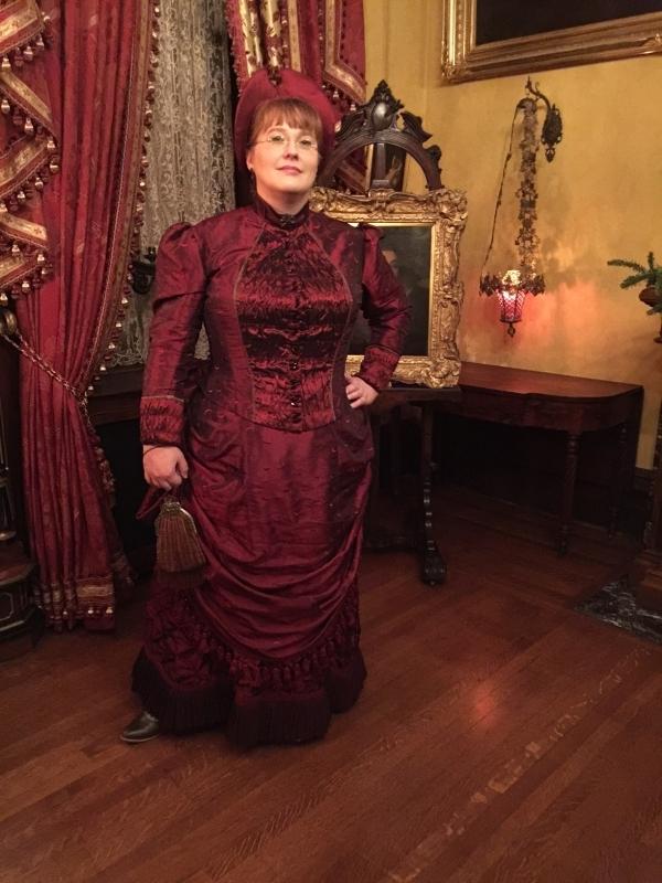 1880s Garnet Taffeta Bustle Dress  17ddd9f7b